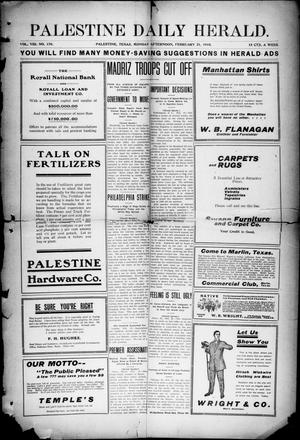 Primary view of object titled 'Palestine Daily Herald (Palestine, Tex.), Vol. 8, No. 170, Ed. 1, Monday, February 21, 1910'.
