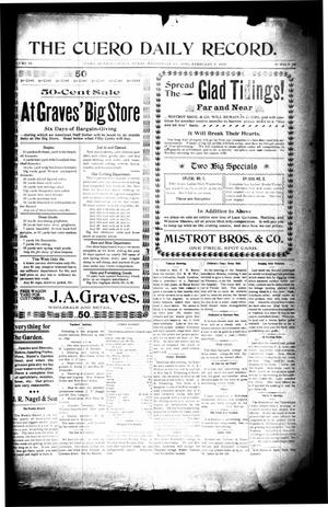 Primary view of object titled 'The Cuero Daily Record. (Cuero, Tex.), Vol. 10, No. 34, Ed. 1 Wednesday, February 8, 1899'.