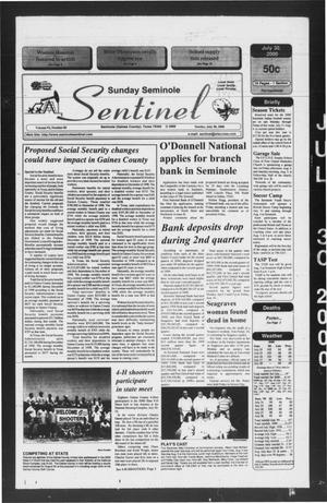 Primary view of object titled 'Seminole Sentinel (Seminole, Tex.), Vol. 93, No. 82, Ed. 1 Sunday, July 30, 2000'.