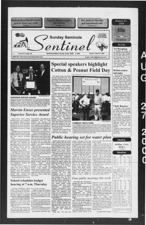 Primary view of object titled 'Seminole Sentinel (Seminole, Tex.), Vol. 93, No. 90, Ed. 1 Sunday, August 27, 2000'.