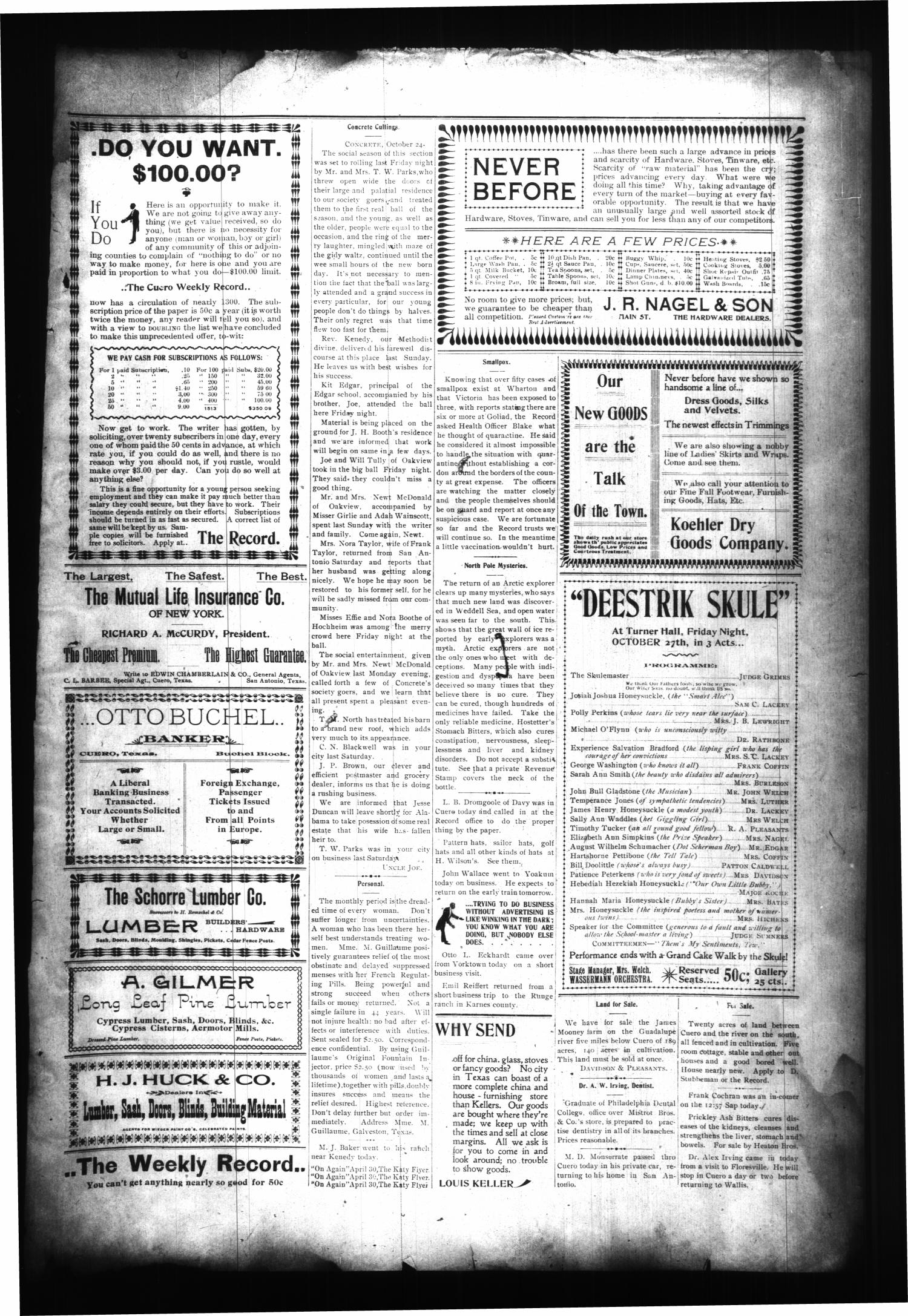 The Cuero Daily Record. (Cuero, Tex.), Vol. 11, No. 86, Ed. 1 Tuesday, October 24, 1899                                                                                                      [Sequence #]: 3 of 4