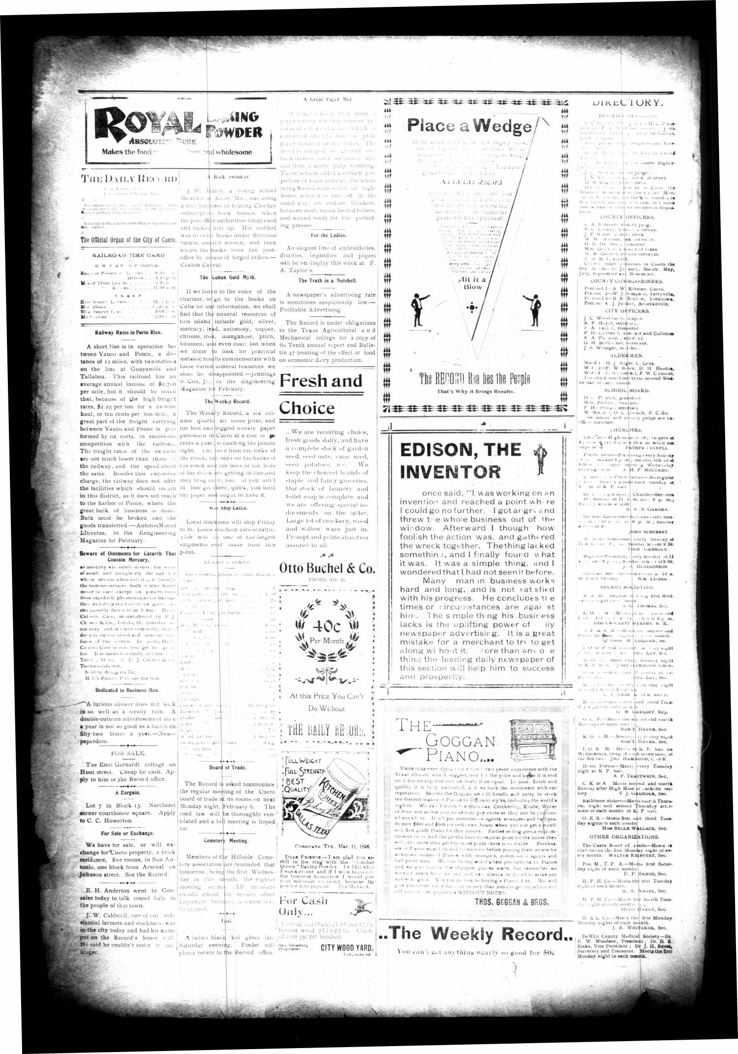 The Cuero Daily Record. (Cuero, Tex.), Vol. 10, No. 29, Ed. 1 Wednesday, February 1, 1899                                                                                                      [Sequence #]: 4 of 8
