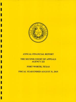 Primary view of object titled 'Texas Second Court of Appeals Annual Financial Report: 2015'.