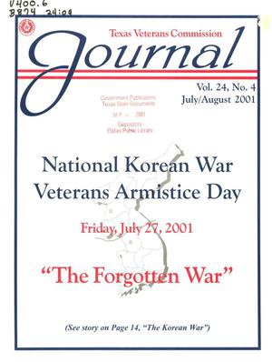 Primary view of object titled 'Texas Veterans Commission Journal, Volume 24, Issue 4, July/August 2001'.