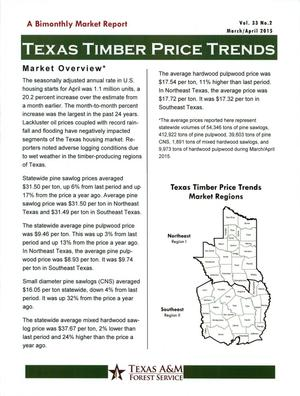 Primary view of object titled 'Texas Timber Price Trends, Volume 33, Number 2, March/April 2015'.