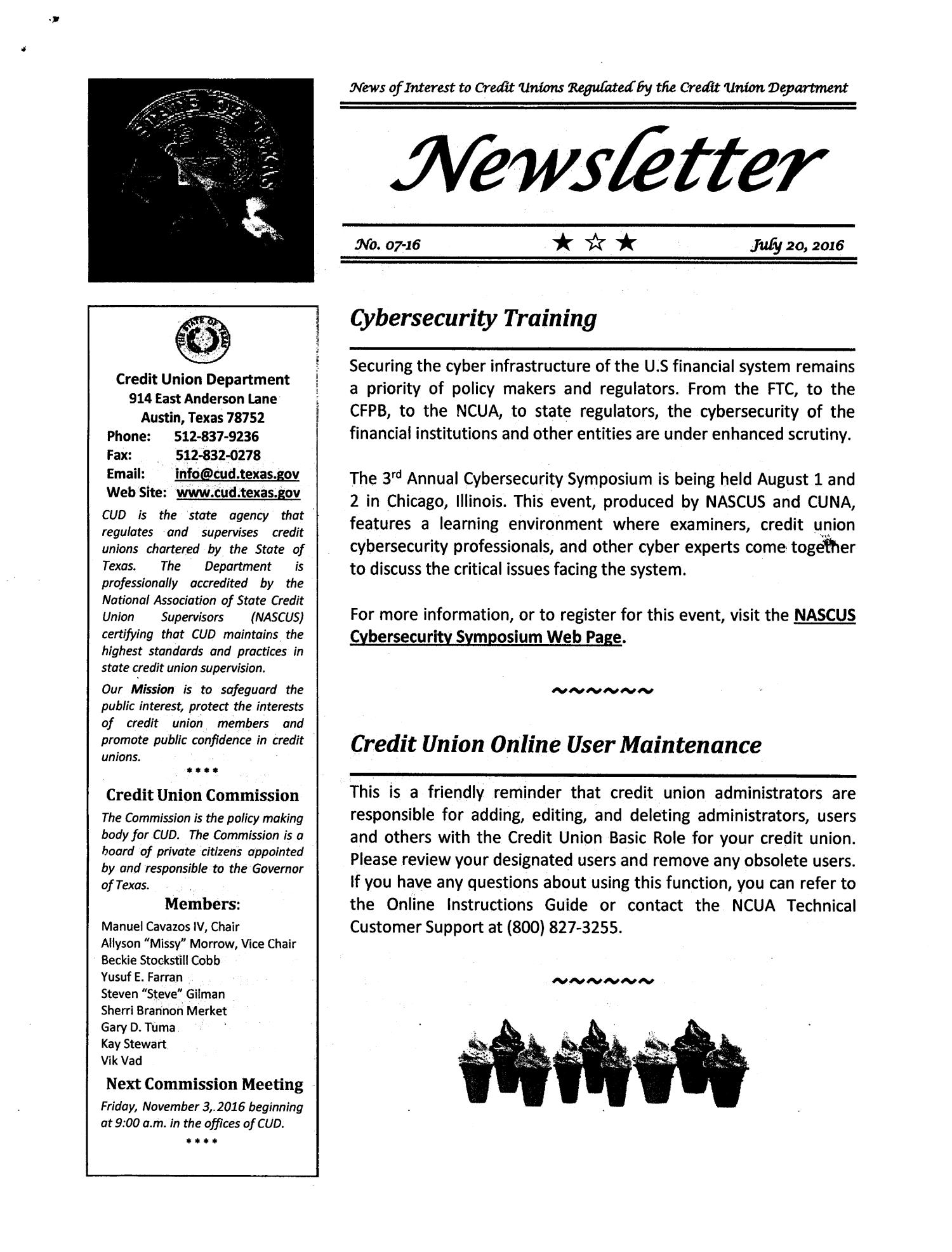 Credit Union Department Newsletter Number 07 16 July 20 2016