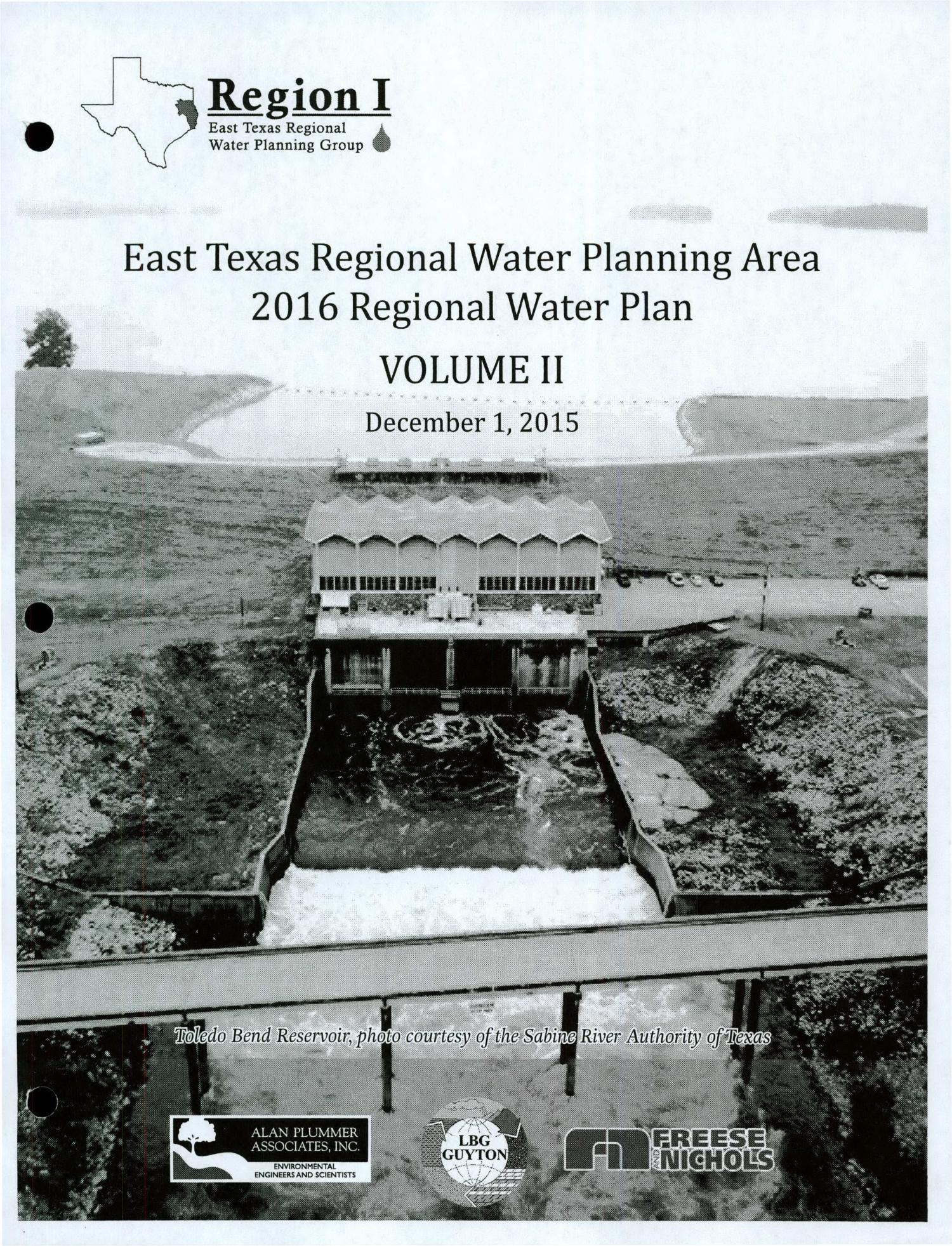 Regional Water Plan: Region I (East Texas), 2016, Volume II. Appendices                                                                                                      Title Page