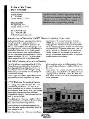 Primary view of object titled 'OTSC Quarterly Newsletter, Volume 22, Number 4, October 2, 2015'.