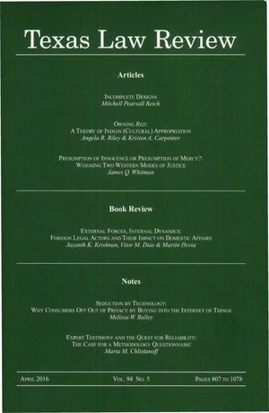 Primary view of object titled 'Texas Law Review, Volume 94, Number 5, April 2016'.