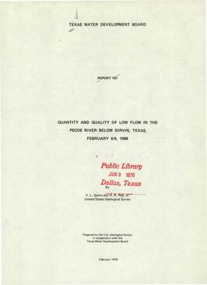 Primary view of object titled 'Quantity and Quality of Low Flow in the Pecos River Below Girvin, Texas, February 6-9, 1968'.