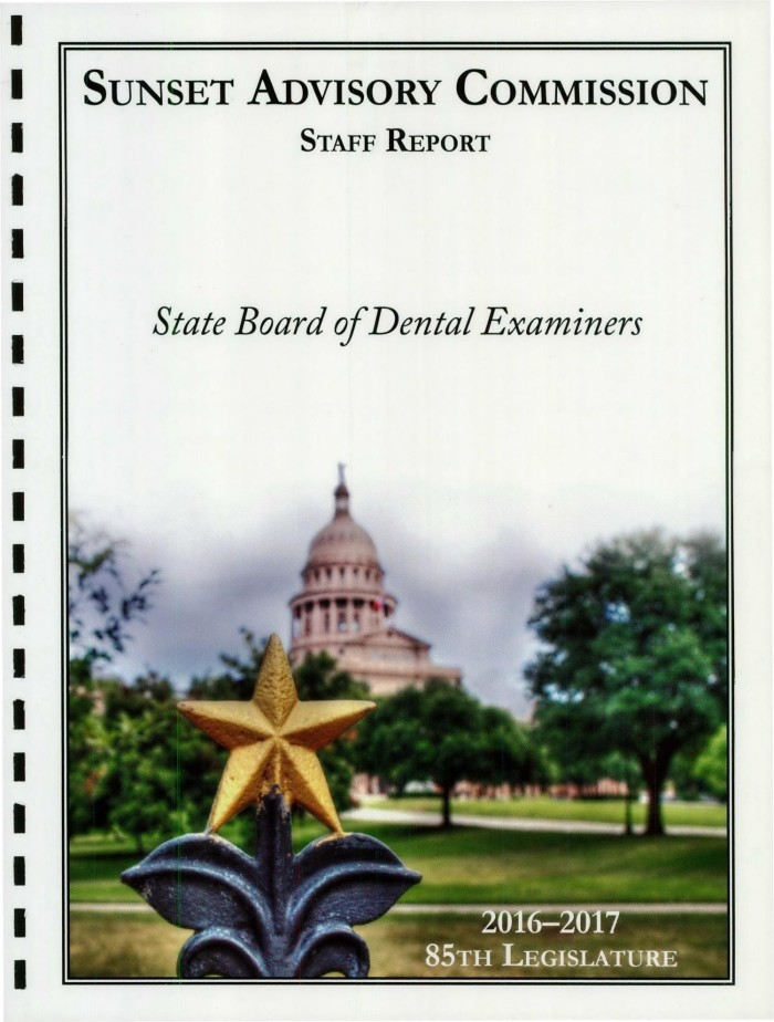 Sunset Commission Staff Report: State Board of Dental Examiners
