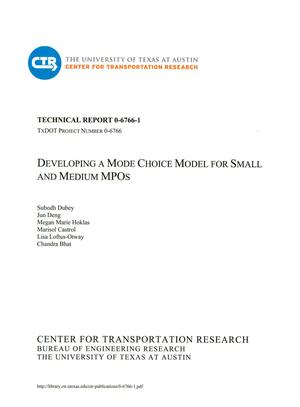 Primary view of object titled 'Developing a Mode Choice Model for Small and Medium MPOs'.