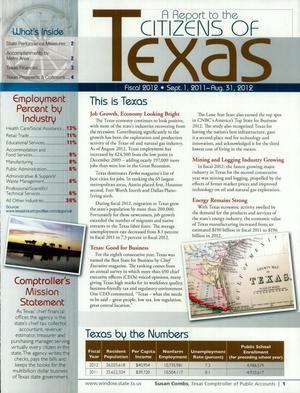 Primary view of object titled 'A Report to the Citizens of Texas: 2012'.