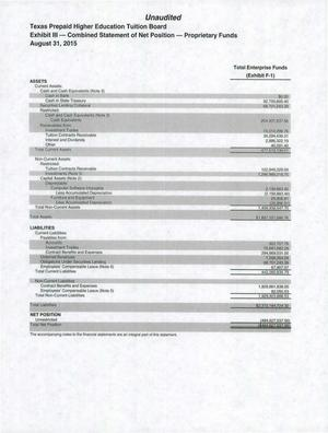 Primary view of object titled 'Texas Prepaid Higher Education Tuition Board Financial Statements: 2015'.