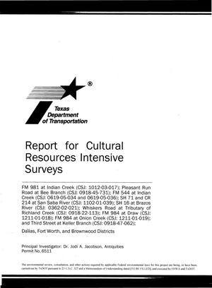 Primary view of object titled 'Report for Cultural Resources Intensive Surveys'.