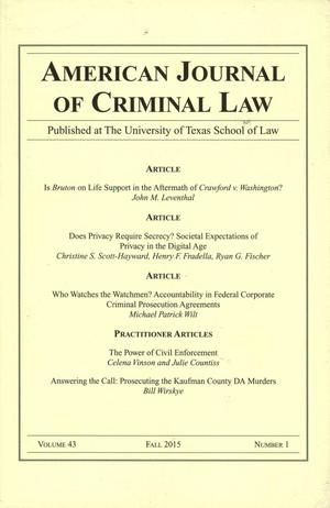 Primary view of object titled 'American Journal of Criminal Law, Volume 43, Number 1, Fall 2015'.