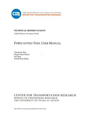Primary view of object titled 'Forecasting Tool User Manual: A Generic Mode Choice Model Applicable for Small and Medium-Sized MPOs'.