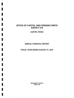 Primary view of object titled 'Texas Office of Capital and Forensic Writs Annual Financial Report: 2015'.