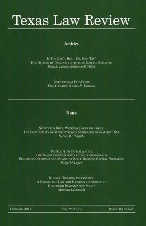 Primary view of object titled 'Texas Law Review, Volume 94, Number 3, February 2016'.