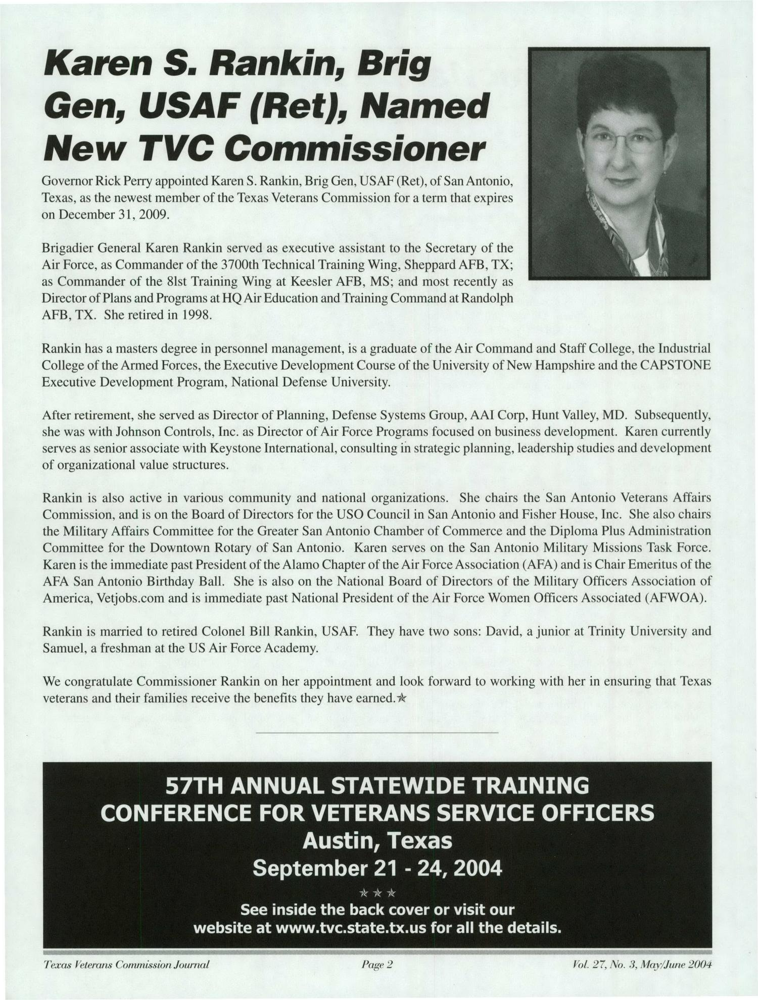 Texas Veterans Commission Journal, Volume 27, Issue 3, May/June 2004                                                                                                      Page2