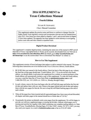 Primary view of object titled 'Texas Collections Manual, Fourth Edition, Volume 1'.