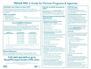 Primary view of object titled 'Texas WIC: A Guide For Partner Programs and Agencies'.