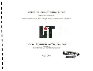 Primary view of object titled 'Lamar Institute of Technology Requests for Legislative Appropriations: 2016 and 2017'.
