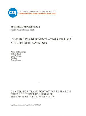 Primary view of object titled 'Revised Pay Adjustments Factors for HMA and Concrete Pavements'.