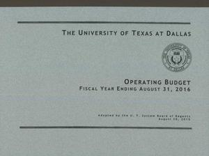 Primary view of object titled 'University of Texas at Dallas Operating Budget: 2016'.