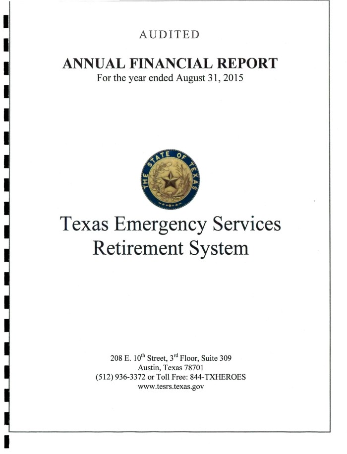 texas emergency services retirement system annual financial report