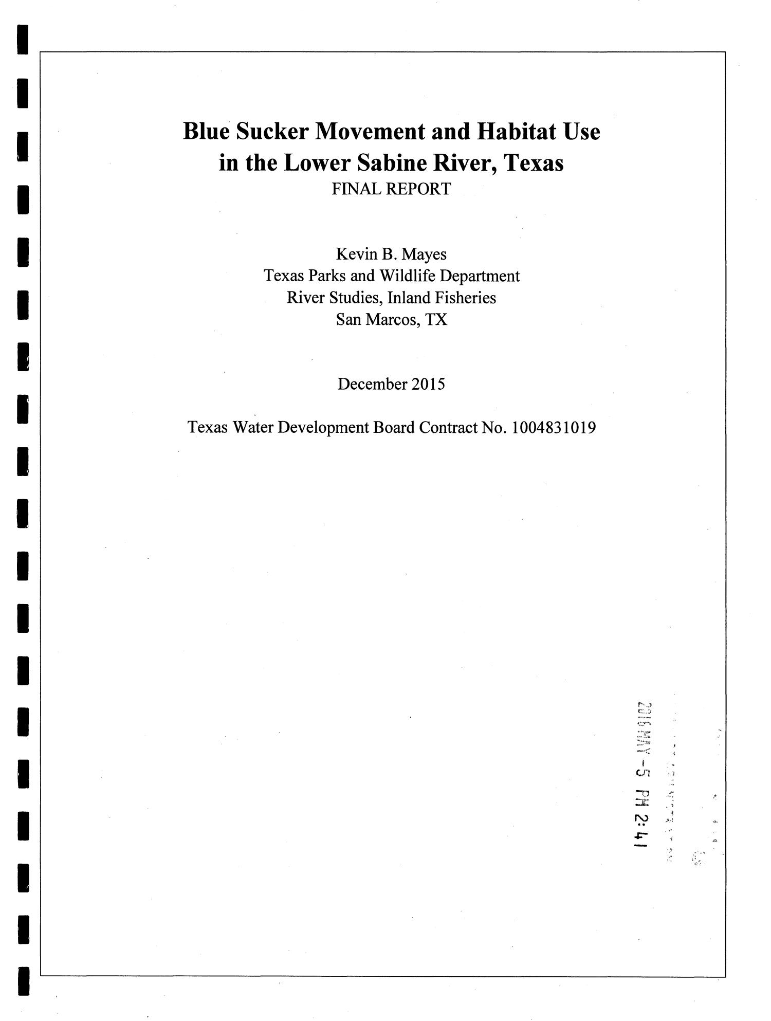 Blue Sucker Movement and Habitat Use in the Lower Sabine River, Texas                                                                                                      Title Page