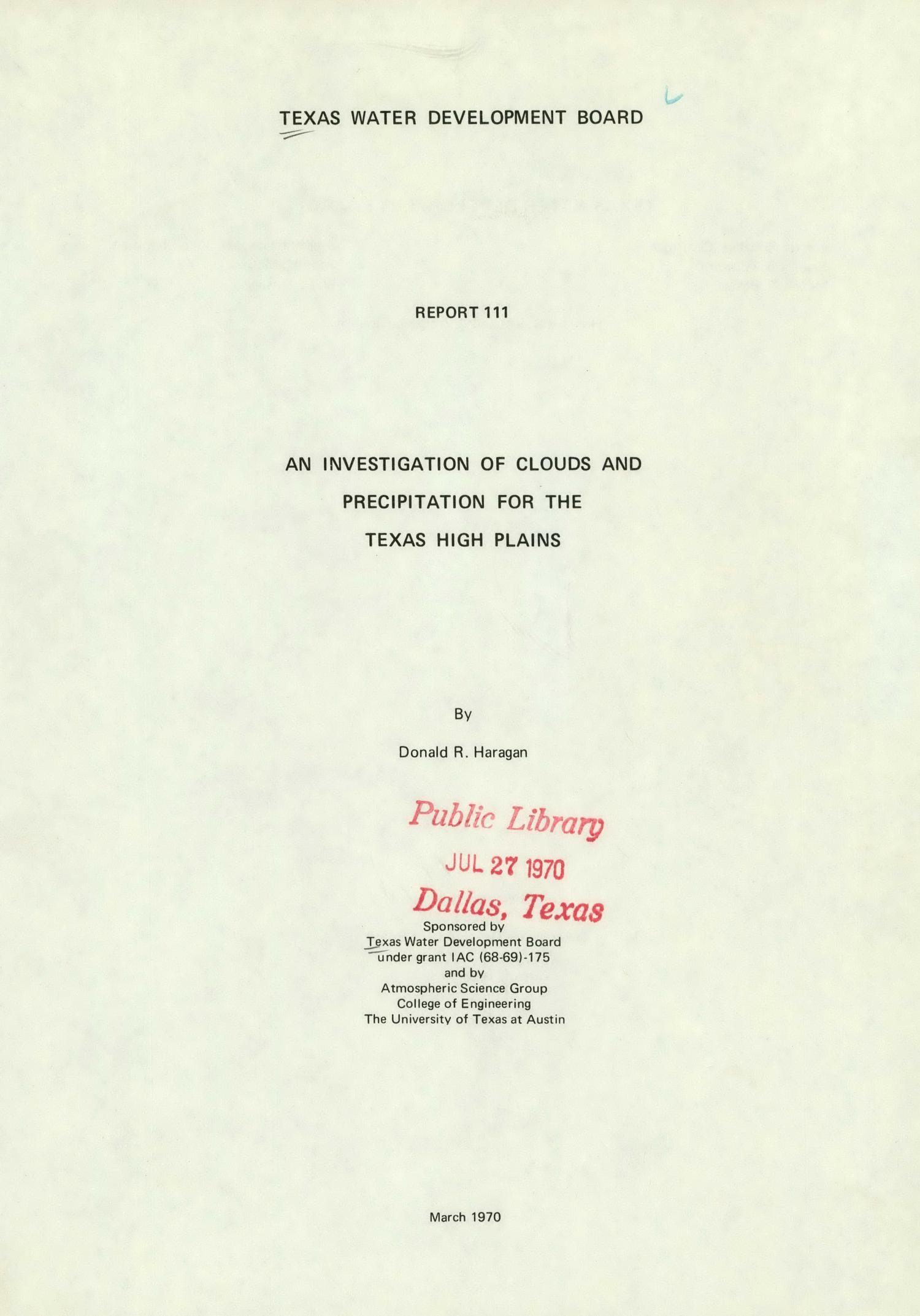 An Investigation of Clouds and Precipitation for the Texas High Plains                                                                                                      Title Page