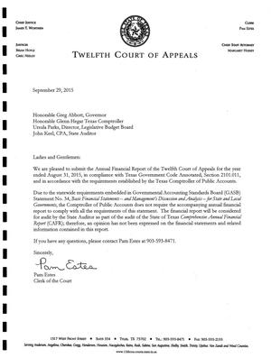 Primary view of object titled 'Texas Twelfth Court of Appeals Annual Financial Report: 2015'.