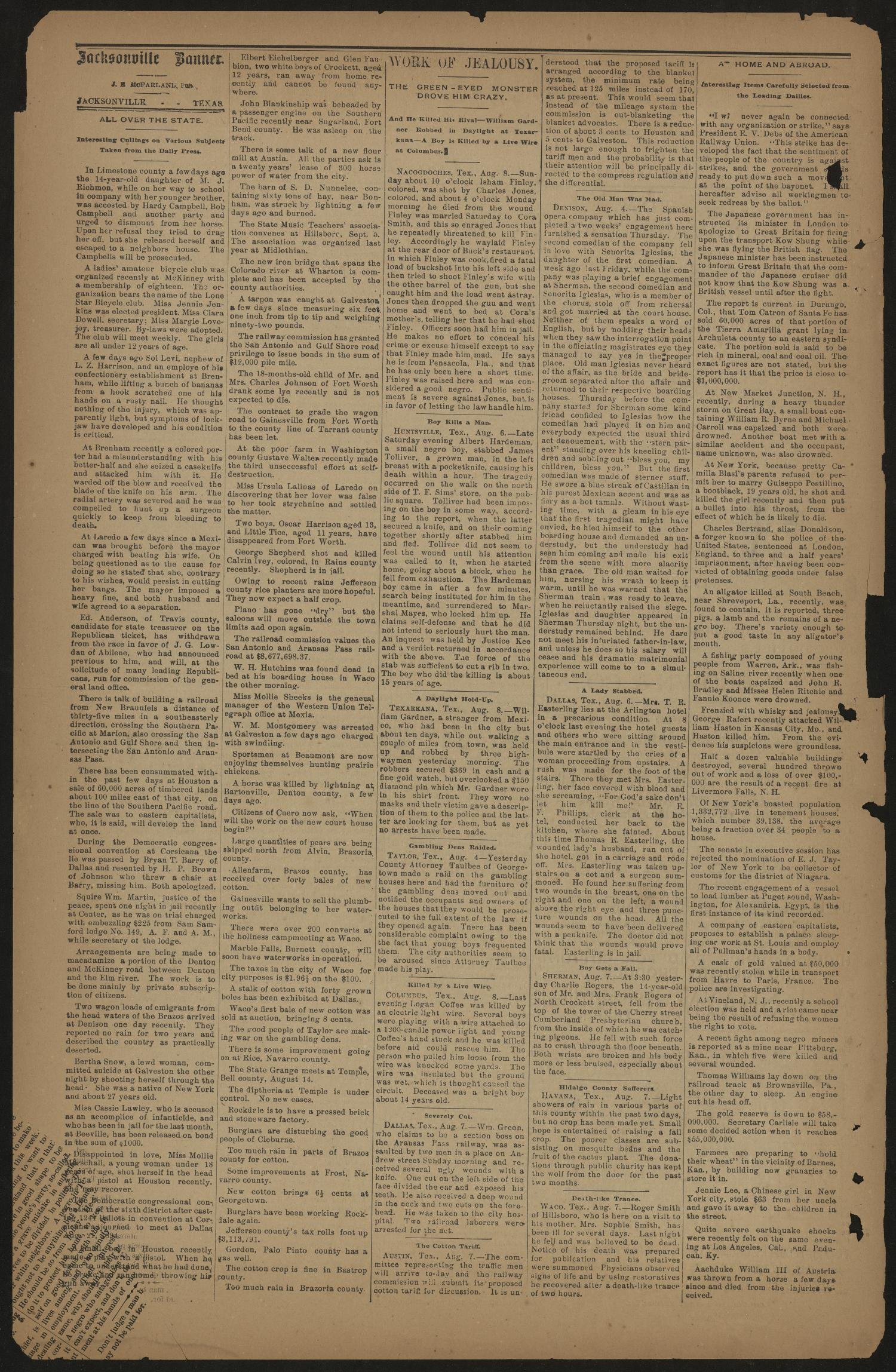 Jacksonville Banner. (Jacksonville, Tex.), Vol. 7, No. 14, Ed. 1 Saturday, August 11, 1894                                                                                                      [Sequence #]: 2 of 8