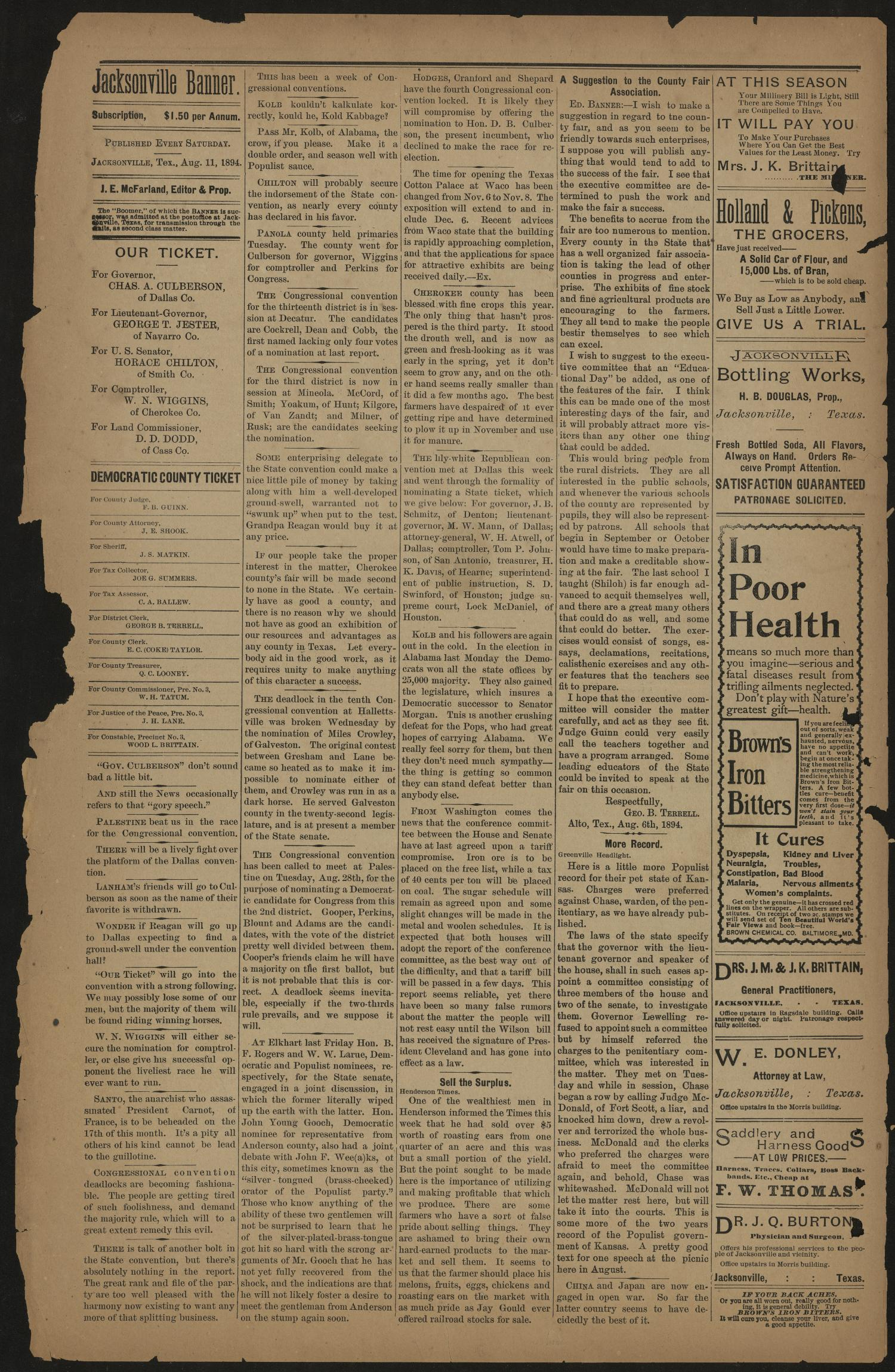 Jacksonville Banner. (Jacksonville, Tex.), Vol. 7, No. 14, Ed. 1 Saturday, August 11, 1894                                                                                                      [Sequence #]: 4 of 8