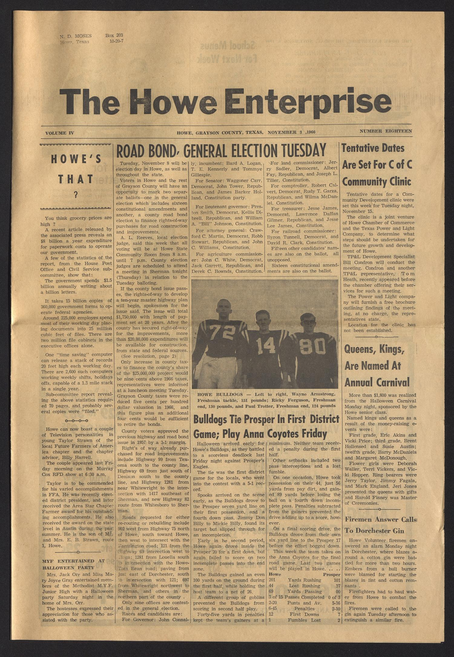 The Howe Enterprise (Howe, Tex.), Vol. 4, No. 18, Ed. 1 Thursday, November 3, 1966                                                                                                      [Sequence #]: 1 of 6