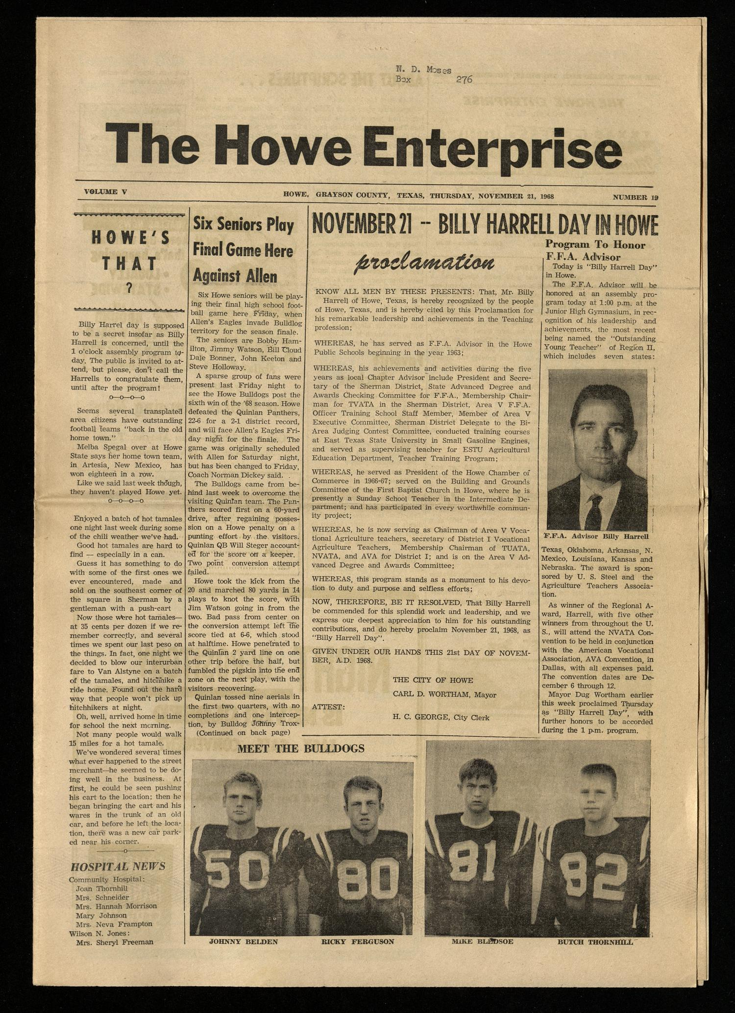 The Howe Enterprise (Howe, Tex.), Vol. 5, No. 19, Ed. 1 Thursday, November 21, 1968                                                                                                      [Sequence #]: 1 of 8