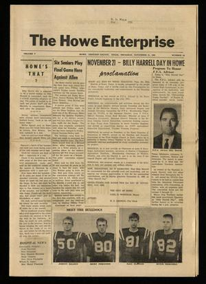 Primary view of object titled 'The Howe Enterprise (Howe, Tex.), Vol. 5, No. 19, Ed. 1 Thursday, November 21, 1968'.