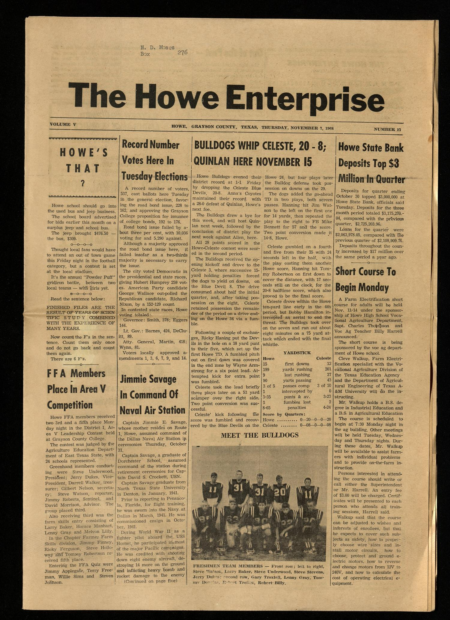 The Howe Enterprise (Howe, Tex.), Vol. 5, No. 17, Ed. 1 Thursday, November 7, 1968                                                                                                      [Sequence #]: 1 of 8