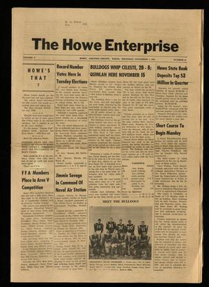 Primary view of object titled 'The Howe Enterprise (Howe, Tex.), Vol. 5, No. 17, Ed. 1 Thursday, November 7, 1968'.