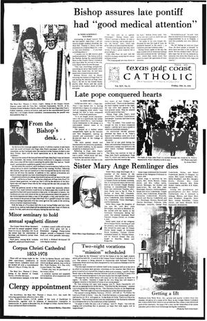 Primary view of object titled 'Texas Gulf Coast Catholic (Corpus Christi, Tex.), Vol. 14, No. 21, Ed. 1 Friday, October 13, 1978'.