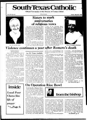 Primary view of object titled 'South Texas Catholic (Corpus Christi, Tex.), Vol. 16, No. 43, Ed. 1 Friday, March 27, 1981'.