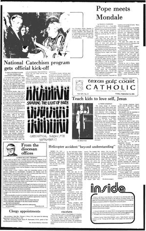 Primary view of object titled 'Texas Gulf Coast Catholic (Corpus Christi, Tex.), Vol. 14, No. 17, Ed. 1 Friday, September 15, 1978'.
