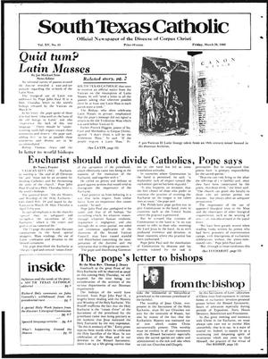 Primary view of object titled 'South Texas Catholic (Corpus Christi, Tex.), Vol. 15, No. 43, Ed. 1 Friday, March 28, 1980'.