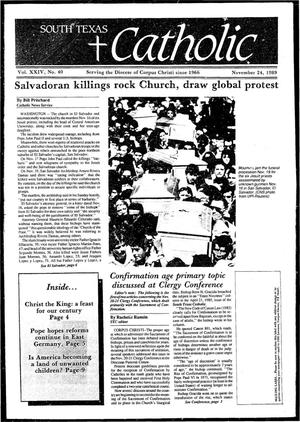 Primary view of object titled 'South Texas Catholic (Corpus Christi, Tex.), Vol. 24, No. 40, Ed. 1 Friday, November 24, 1989'.