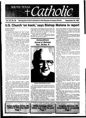 Primary view of object titled 'South Texas Catholic (Corpus Christi, Tex.), Vol. 20, No. 29, Ed. 1 Friday, September 20, 1985'.