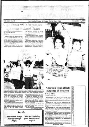 Primary view of object titled 'South Texas Catholic (Corpus Christi, Tex.), Vol. 15, No. 40, Ed. 1 Friday, November 16, 1990'.