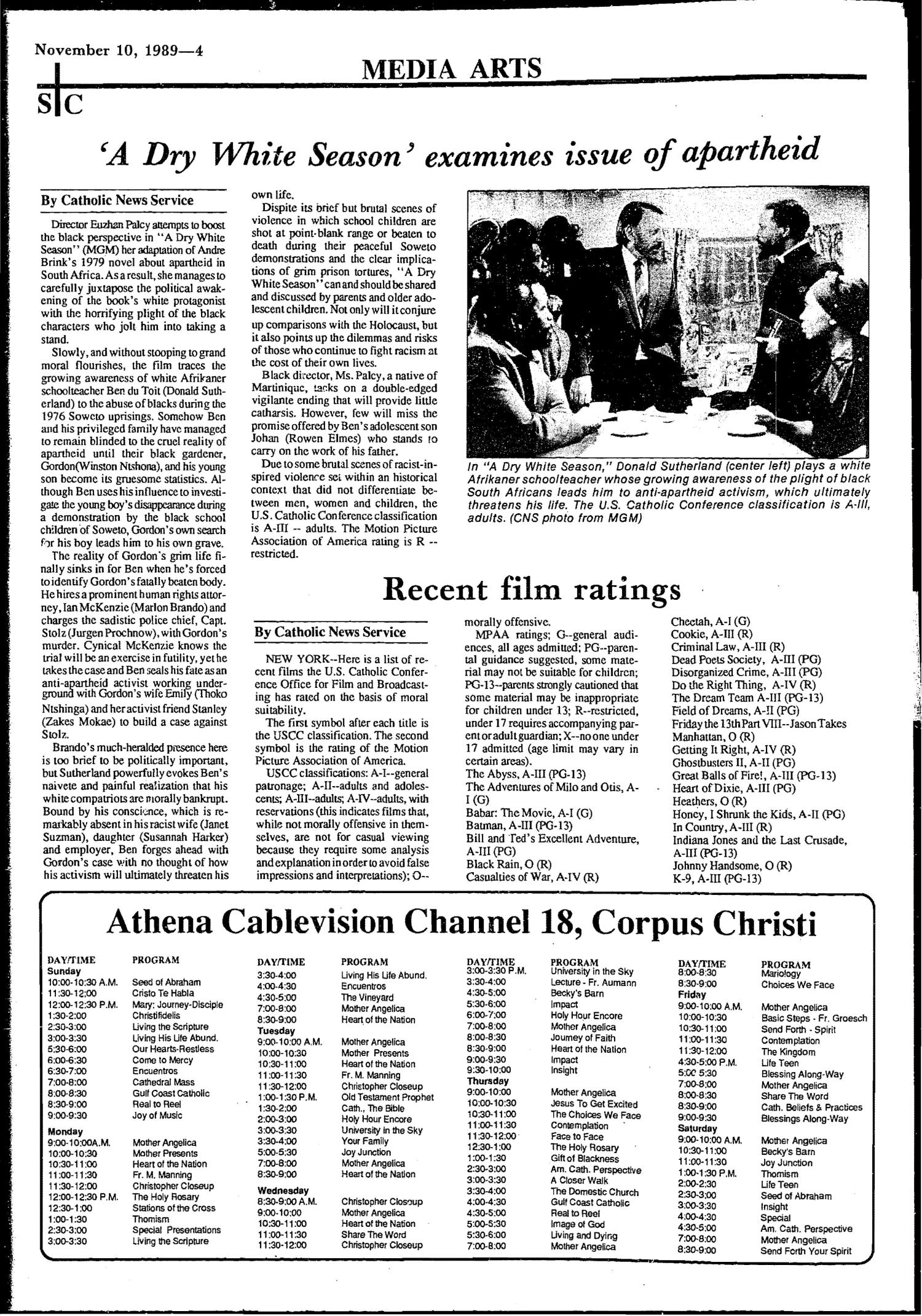 South Texas Catholic (Corpus Christi, Tex.), Vol. 24, No. 38, Ed. 1 Friday, November 10, 1989                                                                                                      [Sequence #]: 4 of 12