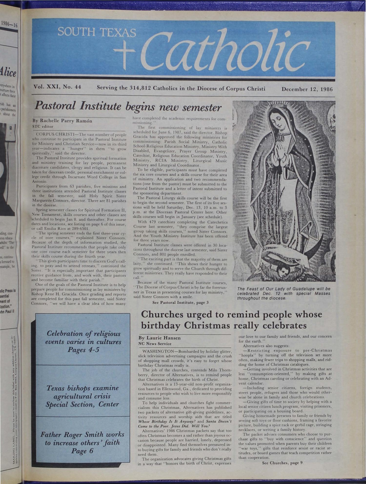South Texas Catholic (Corpus Christi, Tex.), Vol. 21, No. 44, Ed. 1 Friday, December 12, 1986                                                                                                      [Sequence #]: 1 of 16