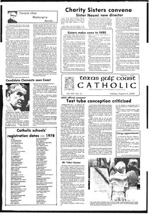 Primary view of object titled 'Texas Gulf Coast Catholic (Corpus Christi, Tex.), Vol. 14, No. 11, Ed. 1 Friday, August 4, 1978'.